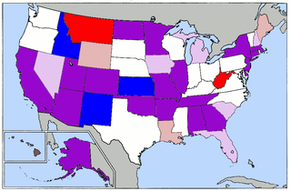 Currently 24 states, American Samoa and Democrats Abroad are scheduled to hold caucuses or primary elections on Super Tuesday, 2008. Blue denotes Democratic-only caucuses (3), Red denotes Republican-only state conventions (2), and Purple represents states holding elections for both parties (19). Light red represents states which have had their republican primary before supertuesday and light pink represents states which have had their democratic & republican primary before supertuesday