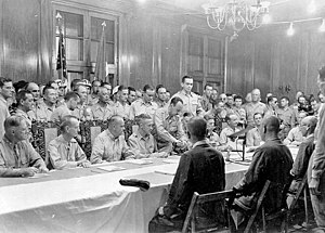 John Hay Air Station - Surrender of Japanese Forces in the Philippines, 3 September 1945. General Tomoyuki Yamashita, is seated in the middle on the near side of the table. Seated on the opposite side, second from left, is Lieutenant General Jonathan M. Wainwright
