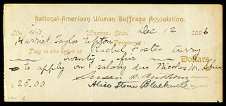 Alice Stone Blackwell - Image: Susan B. Anthony & Alice Stone Blackwell signed NAWSA check