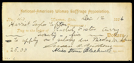 Susan B. Anthony and Alice Stone Blackwell signed NAWSA check, written by the group's treasurer Harriet Taylor Upton.