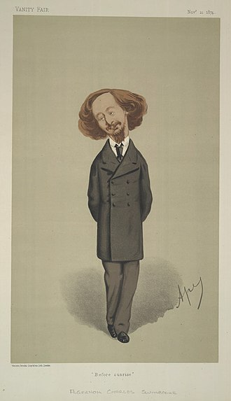 Algernon Charles Swinburne - Swinburne caricatured by Carlo Pellegrini In Vanity Fair in 1874