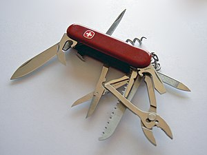 Wenger Swiss Army knife, opened.