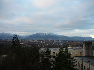 Třinec - A view of the town with the Beskydy mountains clearly visible in the background