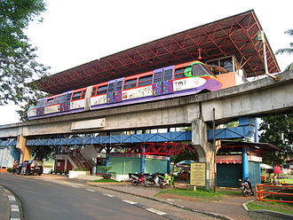 Atmospheric railway - Aeromovel train at Taman Mini Indonesia Indah, Jakarta, Indonesia, opened in 1989. The girder under the train forms an air duct. The vehicle is connected to a propulsion plate in the duct which is then driven by air pressure.