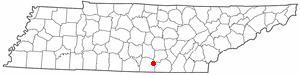 Sewanee, Tennessee - Image: TN Map doton Sewanee
