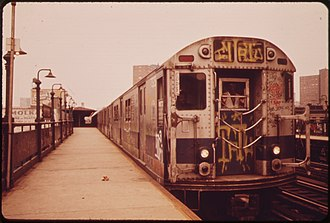R22 (New York City Subway car) - Image: TRAINS LIKE THIS ONE HAVE BEEN SPRAY PAINTED BY VANDALS NARA 548263