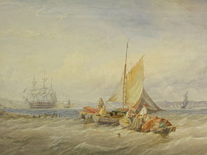 """Thomas Sewell Robins - Watercolour of a Coastal Fishing Scene: """"Bringing in the Nets"""" by Thomas Sewell Robins, 1861"""