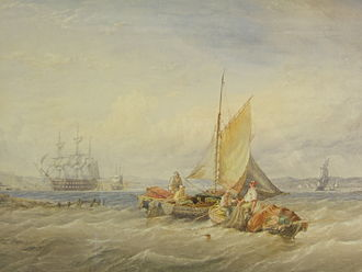 "Thomas Sewell Robins - Watercolour of a Coastal Fishing Scene: ""Bringing in the Nets"" by Thomas Sewell Robins, 1861"