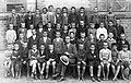 Tableau, class photo, yard, man, teacher Fortepan 17541.jpg