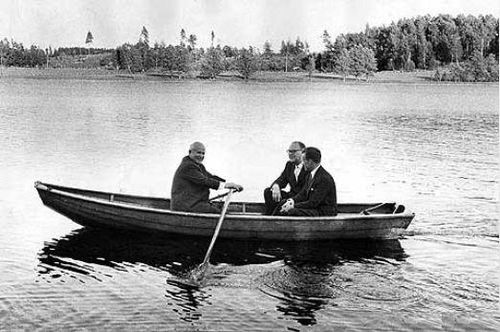 Khrushchev (rowing the boat) with the Swedish Prime Minister Tage Erlander, 1964 Tage Erlander and Nikita Khrushchev 1964.jpg