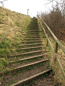 Taking steps to the A166 - geograph.org.uk - 1181501 - staircase in hill