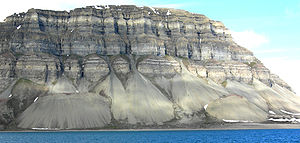 Mass wasting - Talus cones produced by mass wasting, north shore of Isfjord, Svalbard, Norway.