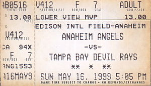 1999 Tampa Bay Devil Rays season - A ticket for a 1999 game between the Devil Rays and the Anaheim Angels.