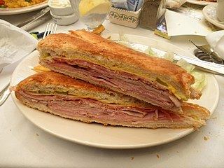 Variation of a ham and cheese sandwich of Cuban-American origin invented in Key West and Tampa, Florida, USA