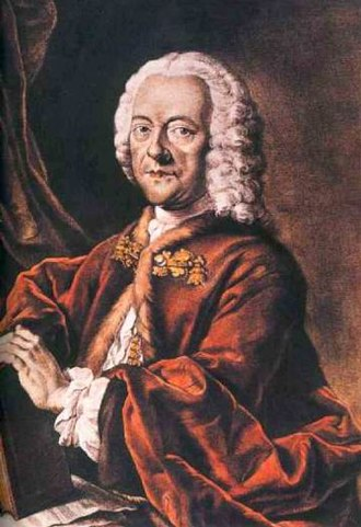 Georg Philipp Telemann - Georg Philipp Telemann, hand-colored aquatint by Valentin Daniel Preisler, after a lost painting by Louis Michael Schneider, 1750