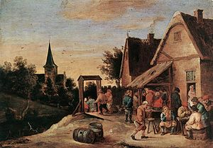 David Teniers the Elder - David Teniers the Elder, Village Feast, Panel   Accademia Carrara, Bergamo