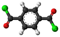 Ball-and-stick model of the terephthaloyl chloride molecule