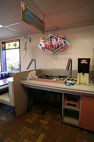 1984 Rajneeshee bioterror attack - The salsa bar of The Dalles Taco Time.