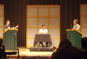 The Debaters - Photo taken from a taping of The Debaters at the Glenn Gould Studio in Toronto, with Sean Cullen (in the centre) as host.