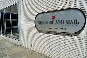The Globe and Mail - The Globe and Mail's former building at 444 Front Street, Toronto (1974-2016).