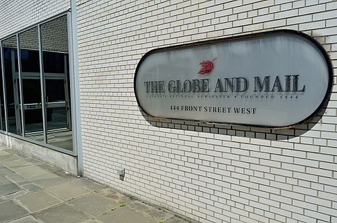 The Globe and Mail's former building at 444 Front Street, Toronto (1974-2016) TheGlobeAndMail2.jpg