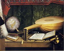 The Ambassadors, detail of globe, lute, and books, by Hans Holbein the Younger.jpg
