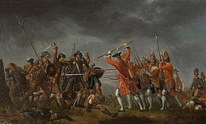 Basket-hilted sword - A painting by David Morier (1705?–1770) depicting one of the final moments of the last Jacobite Rebellion, at the Battle of Culloden, the last battle fought on British soil.