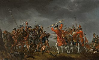 "Jacobite risings - David Morier's painting Culloden shows the highlanders still wearing the plaids which they normally set aside before battle, where they would fire a volley then run full tilt at the enemy with broadsword and targe in the ""Highland charge"" wearing only their shirts."