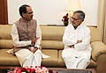 The Chief Minister of Madhya Pradesh, Shri Shivraj Singh Chauhan meeting the Union Minister for Road Transport and Highways, Dr. C.P. Joshi to discuss road sector issues, in New Delhi on June 09, 2011.jpg