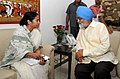 The Chief Minister of West Bengal, Kumari Mamata Banerjee meeting the Deputy Chairman, Planning Commission, Shri Montek Singh Ahluwalia for finalizing plan for 2012-13 for the State, in New Delhi on April 10, 2012.jpg