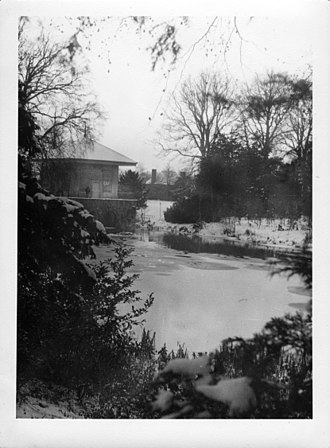 Beckett Hall - The lake and the China House, c. 1967