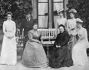 Princess Victoria Melita of Saxe-Coburg and Gotha - The Duke of Saxe-Coburg and Gotha with his family. From left to right: Princess Beatrice, Alfred Duke of Saxe-Coburg Gotha, Duchess Marie, Dowager Duchess Alexandrine, Princess Victoria, Princess Alexandra and Princess Marie at Rosenau.