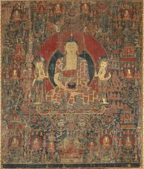 The Jina Buddha of Infinite Light (Amitabha) in His Pure Land Paradise (Sukhavati)