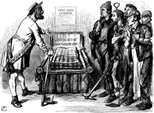 "Eight-hour day - The Modern Bed of Procrustes Procrustes. ""Now then, you fellows; I mean to fit you all to my little bed!"" Chorus. ""Oh lor-r!!"" ""It is impossible to establish universal uniformity of hours without inflicting very serious injury to workers."" – Motion at the recent Trades' Congress. Cartoon from Punch, Vol 101, 19 September 1891"