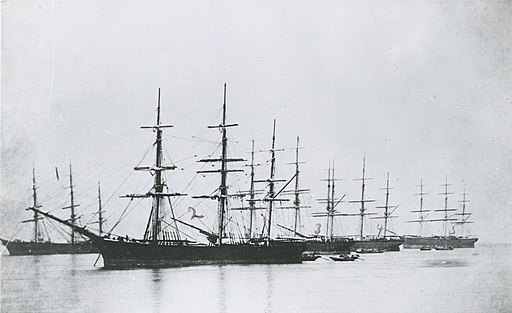 The Pagoda Anchorage, Foochow, in 1866. The Tea Clippers lined up awaiting their cargo. Pictured L to R - The 'Black Prince', 'Fiery Cross', 'Taitsing', 'Taeping', and 'Flying Spur'. PRG-1373-4-67 (cropped and title corrected)