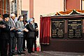 The Prime Minister, Dr. Manmohan Singh unveiling the plaque to inaugurate the Jagti Township for Kashmiri Migrants, in Jammu on March 04, 2011.jpg