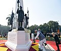 The Prime Minister, Shri Narendra Modi and the Prime Minister of Israel, Mr. Benjamin Netanyahu paying homage to martyrs by laying the wreath, at Teen Murti Chowk, in New Delhi on January 14, 2018 (1).jpg