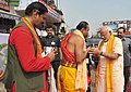 The Prime Minister, Shri Narendra Modi arrives at the Jagannath Temple, at Puri, in Odisha on February 07, 2016.jpg