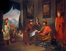 The Third Panchen Lama Receives George Bogle at Tashilhunpo, oil painting, Tilly Kettle, c. 1775.jpg