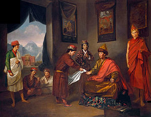 George Bogle (diplomat) - The Sixth Panchen Lama Receives George Bogle at Tashilhunpo, oil painting by Tilly Kettle, c. 1775