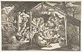 The adoration of the shepherds, various figures at night surround the Christ Child MET DP812440.jpg