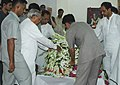The former Prime Minister Shri Atal Bihari Vajpayee paying tribute to the mortal remains of the former Prime Minister Shri Chandra Shekhar, in New Delhi on July 08, 2007.jpg