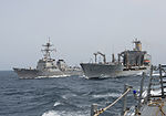 The guided missile destroyer USS Shoup (DDG 86) refuels alongside the fleet replenishment oiler USNS Patuxent (T-AO 201) Aug. 26, 2013, in the Arabian Sea 130826-N-ZQ631-068.jpg
