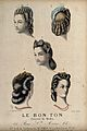 The heads of five women with braided hair dressed with feath Wellcome V0019878EL.jpg