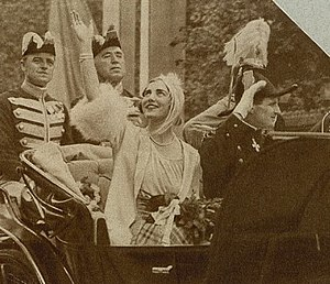 Ingrid of Sweden - The newly married royal couple at their arrival in Copenhagen in 1935.