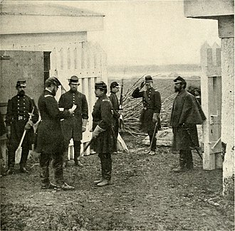 1st Connecticut Heavy Artillery Regiment - Colonel Tyler reads a dispatch at Fort Richardson, Arlington, Virginia in 1862