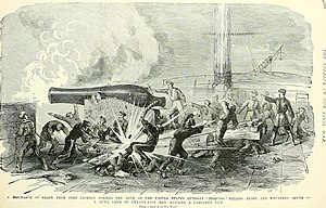 USS Iroquois (1859) - Struck by a discharge of grape from Fort Jackson