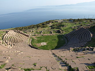 Assos - The ancient Theatre of Assos overlooking the Aegean Sea, with the nearby island of Lesbos on the horizon, at right.