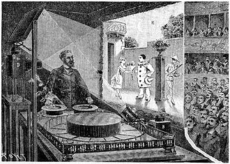Théâtre Optique - A performance of Pauvre Pierrot as imagined by Louis Poyet, published in La Nature in July 1892
