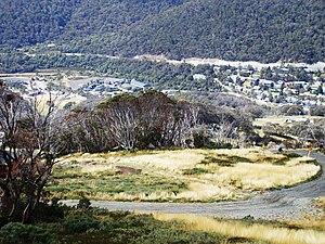 1997 Thredbo landslide - Thredbo village and ski resort with Alpine Way road seen running above the lodges (Summer 2008)